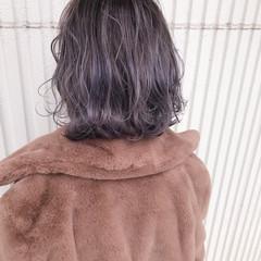 ラベンダーグレー デート ラベンダー ボブ ヘアスタイルや髪型の写真・画像