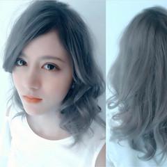 大人女子 グレージュ セミロング 外国人風カラー ヘアスタイルや髪型の写真・画像