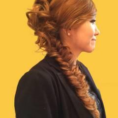 パーティ 大人かわいい ロング フィッシュボーン ヘアスタイルや髪型の写真・画像