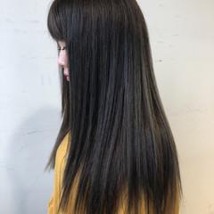 ロング 暗髪 大人女子 アッシュグレー ヘアスタイルや髪型の写真・画像