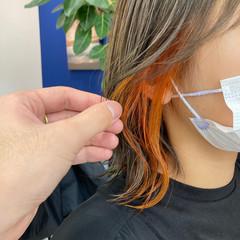 韓国風ヘアー ミディアム インナーカラー ナチュラル ヘアスタイルや髪型の写真・画像