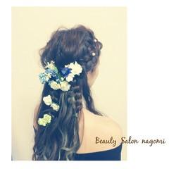 ロング 外国人風 結婚式 ブライダル ヘアスタイルや髪型の写真・画像
