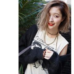 ハイトーン グラデーションカラー ボブ 渋谷系 ヘアスタイルや髪型の写真・画像