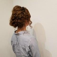 ヘアアレンジ ミディアム 編み込み アップスタイル ヘアスタイルや髪型の写真・画像