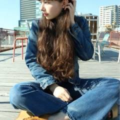 暗髪 ロング ストリート ストレート ヘアスタイルや髪型の写真・画像
