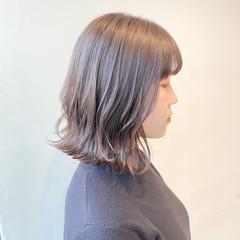 透明感カラー ボブ ミルクティーベージュ ミニボブ ヘアスタイルや髪型の写真・画像
