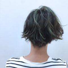ウェットヘア パーマ ショートボブ ハイライト ヘアスタイルや髪型の写真・画像