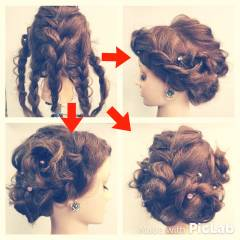 セミロング 簡単ヘアアレンジ 三つ編み ゆるふわ ヘアスタイルや髪型の写真・画像