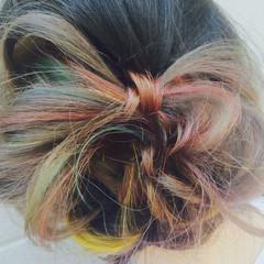 ヘアアレンジ ストリート セミロング ダブルカラー ヘアスタイルや髪型の写真・画像