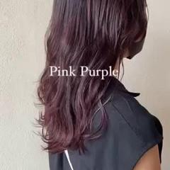 ナチュラル ピンクパープル ラズベリーピンク ピンクブラウン ヘアスタイルや髪型の写真・画像