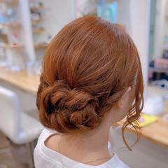 編み込み セミロング ナチュラル 編み込みヘア ヘアスタイルや髪型の写真・画像