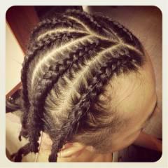 黒髪 コーンロウ ヘアアレンジ 編み込み ヘアスタイルや髪型の写真・画像