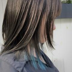 ブリーチカラー ハイトーンカラー ハイライト ミディアム ヘアスタイルや髪型の写真・画像