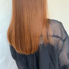 アプリコットオレンジ オレンジベージュ ブリーチ無し ナチュラル ヘアスタイルや髪型の写真・画像