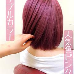 レッド ガーリー チェリーレッド ラベンダーピンク ヘアスタイルや髪型の写真・画像