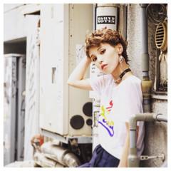 外国人風 ショート アッシュ グラデーションカラー ヘアスタイルや髪型の写真・画像
