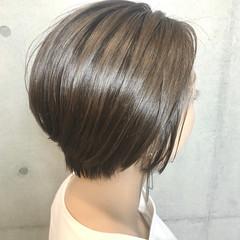 ハイライト アッシュベージュ ナチュラル ショート ヘアスタイルや髪型の写真・画像