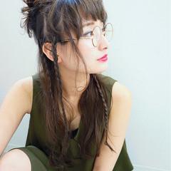 ロング ヘアアレンジ 前髪あり ハーフアップ ヘアスタイルや髪型の写真・画像