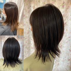 ミディアム ネオウルフ フェミニン ソフトウルフ ヘアスタイルや髪型の写真・画像