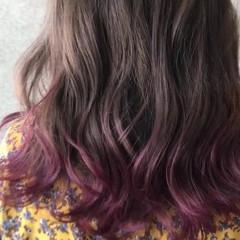 ヘアアレンジ ピンク ミディアム グラデーションカラー ヘアスタイルや髪型の写真・画像