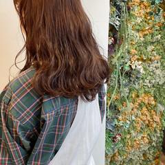 ショコラブラウン セミロング ブラウンベージュ 韓国ヘア ヘアスタイルや髪型の写真・画像