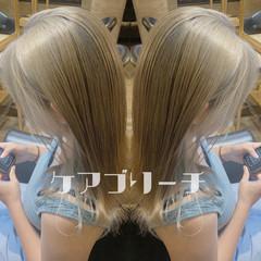 外ハネ ストリート ダブルブリーチ セミロング ヘアスタイルや髪型の写真・画像