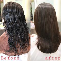 ナチュラル ロング 最新トリートメント 縮毛矯正 ヘアスタイルや髪型の写真・画像