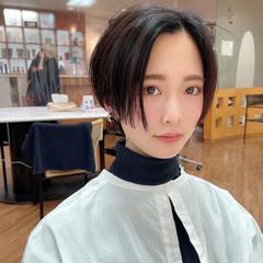 黒髪ショート マッシュショート ショートカット モード ヘアスタイルや髪型の写真・画像