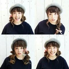 ガーリー ヘアアレンジ セミロング 三つ編み ヘアスタイルや髪型の写真・画像