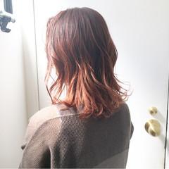 オレンジカラー オレンジブラウン インナーカラーオレンジ アプリコットオレンジ ヘアスタイルや髪型の写真・画像