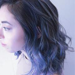 パープル バレイヤージュ ボブ ストリート ヘアスタイルや髪型の写真・画像