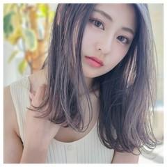 韓国ヘア ラベンダーピンク 髪質改善カラー ガーリー ヘアスタイルや髪型の写真・画像