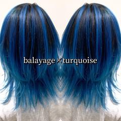 ストリート ミディアム ターコイズブルー ヘアカラー ヘアスタイルや髪型の写真・画像