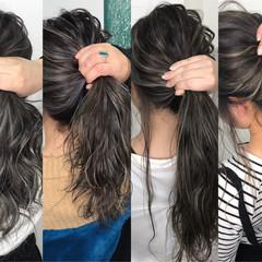 セミロング ハイライト オフィス グレージュ ヘアスタイルや髪型の写真・画像