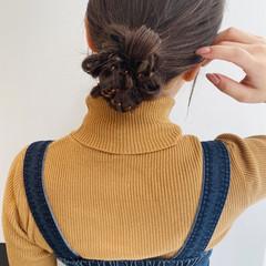 ナチュラル ヘアアレンジ セミロング 簡単ヘアアレンジ ヘアスタイルや髪型の写真・画像