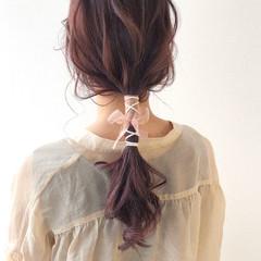 ナチュラル 紐アレンジ ヘアアレンジ 大人可愛い ヘアスタイルや髪型の写真・画像