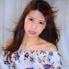 セミロング フェミニン 夏 ロング ヘアスタイルや髪型の写真・画像