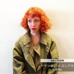 ボブ オレンジ ストリート 外国人風 ヘアスタイルや髪型の写真・画像