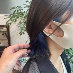 ボブ ネイビーカラー ブルー ネイビーブルー ヘアスタイルや髪型の写真・画像