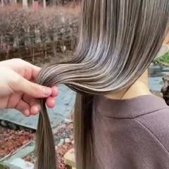 ハイトーン ナチュラル バレイヤージュ ハイトーンボブ ヘアスタイルや髪型の写真・画像
