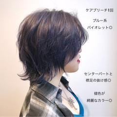 小顔ショート ブルーバイオレット ウルフカット マッシュウルフ ヘアスタイルや髪型の写真・画像