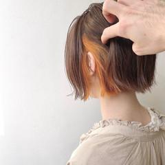 インナーカラー ガーリー ボブ ミルクティーベージュ ヘアスタイルや髪型の写真・画像