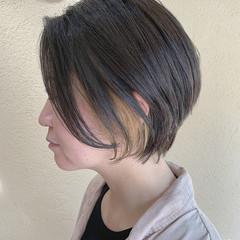 インナーカラー 大人ショート ナチュラル ショート ヘアスタイルや髪型の写真・画像