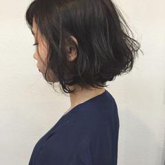 パーマ 色気 ナチュラル ボブ ヘアスタイルや髪型の写真・画像