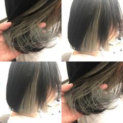 モード ボブ グレージュ インナーカラー ヘアスタイルや髪型の写真・画像