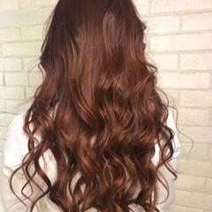 バレイヤージュ 春ヘア オレンジ ロング ヘアスタイルや髪型の写真・画像