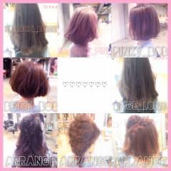 オレンジ レッド イエロー ピンク ヘアスタイルや髪型の写真・画像