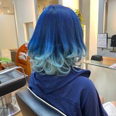 ブリーチ ブルー ブリーチオンカラー ボブ ヘアスタイルや髪型の写真・画像