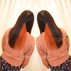 ロング インナーカラー オレンジ インナーカラーオレンジ ヘアスタイルや髪型の写真・画像