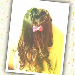 簡単ヘアアレンジ キッズ ヘアセット ガーリー ヘアスタイルや髪型の写真・画像
